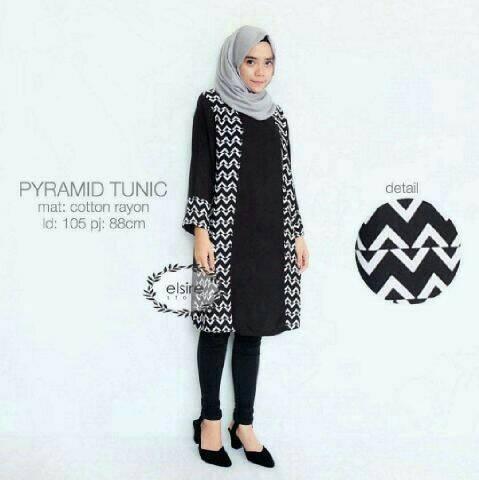 Piramyd Tunik / baju hitam / hijab murah / baju muslim / atasan wanita