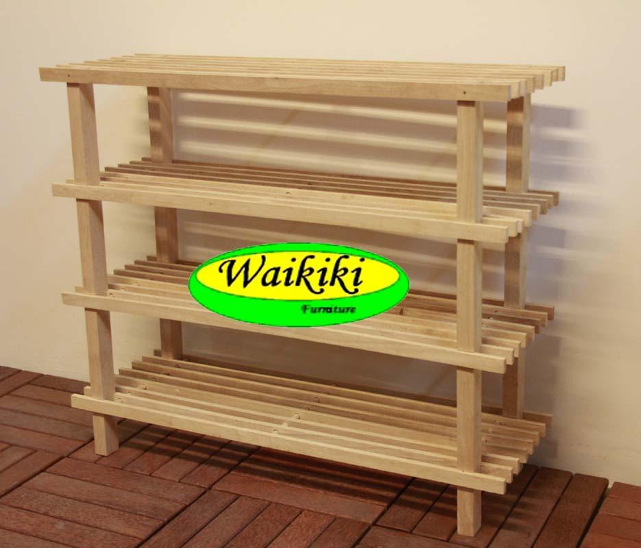 Jual Rak Sepatu Kayu 4 Susun Minimalis Waikiki Wow