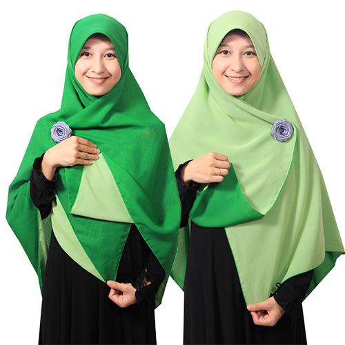 Jilbab Segiempat Bolak-balik - Hijab Square Bolbal Kerudung Polos Adem