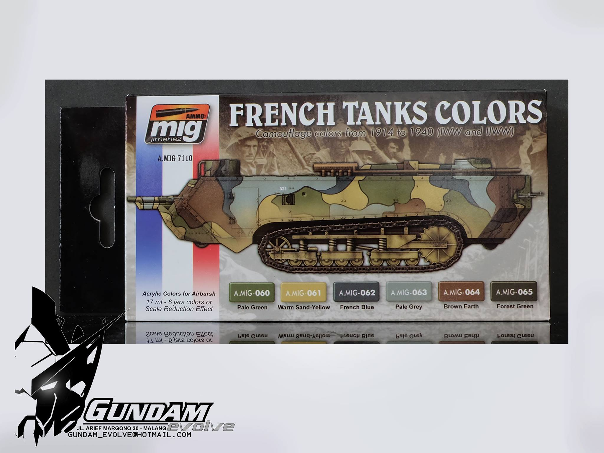 MIG Acrylic Set (6x17ml) : WWI & WWII French Camouflage Colors