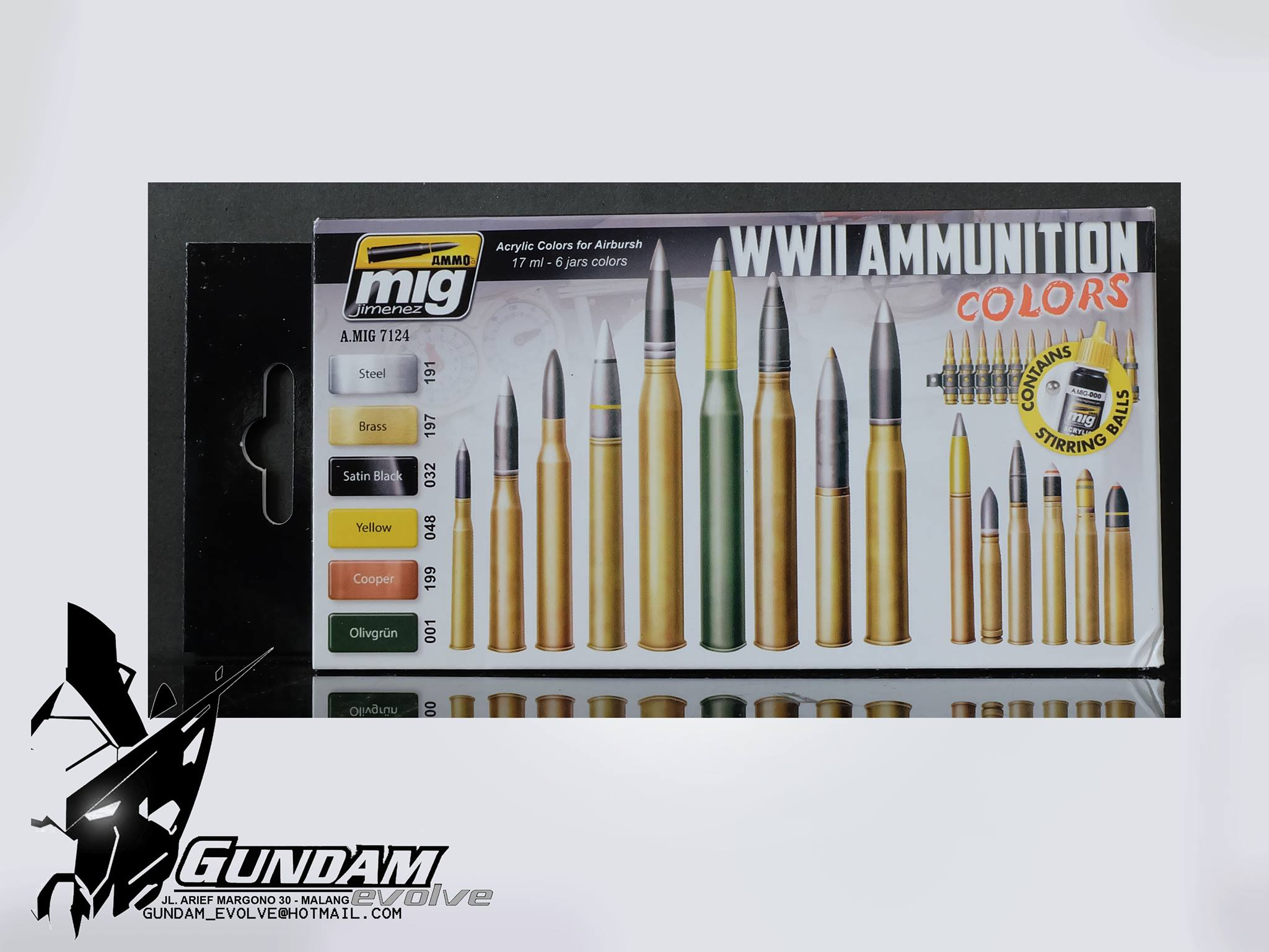 MIG Acrylic Set (6x17ml) : WWII Ammunition Colors