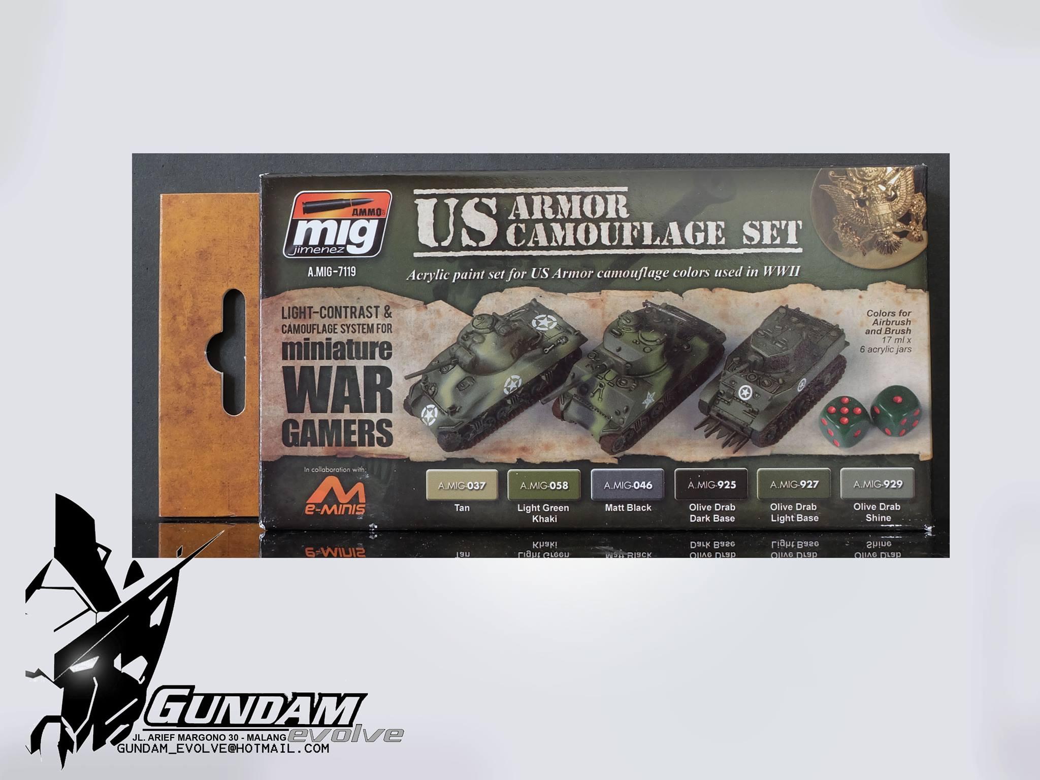 MIG Acrylic Set (6x17ml) : Wargame US Armor Set