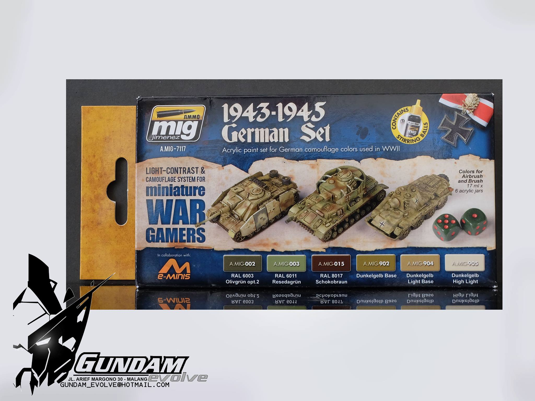 MIG Acrylic Set (6x17ml) : Wargame 1943-1945 German Set