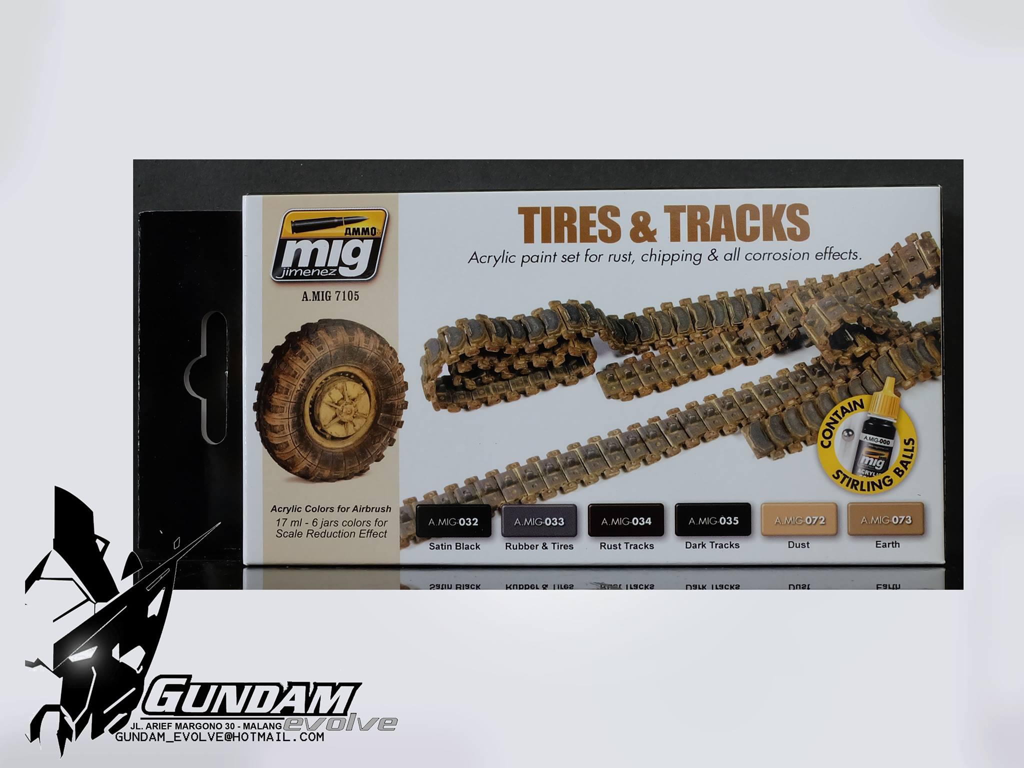 MIG Acrylic Set (6x17ml) : Tires & Tracks