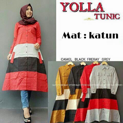 Yolla tunic / tunik / baju kuliah / baju kancing depan / hijab