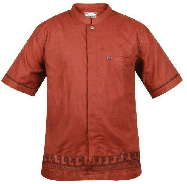 Baju Koko / Baju Muslim / Baju Muslim Pria / Warna Merah Bata - Tembaga, S