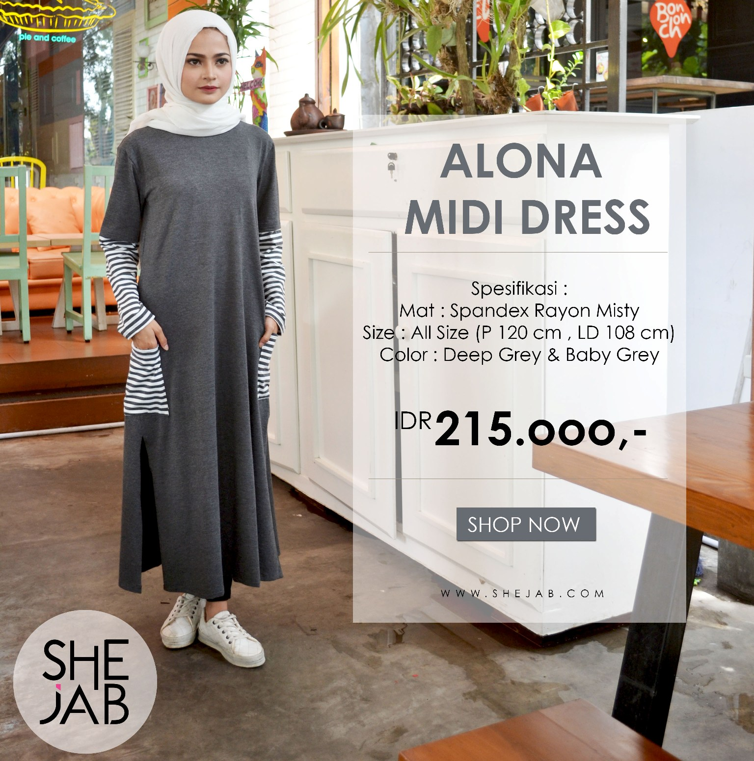 Jual Gamis Santai Lembut Nyaman Baju Muslim Wanita Shejab Alona