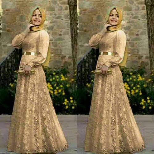 jubah wanita setelan + hijab + ikat pinggang sabuk