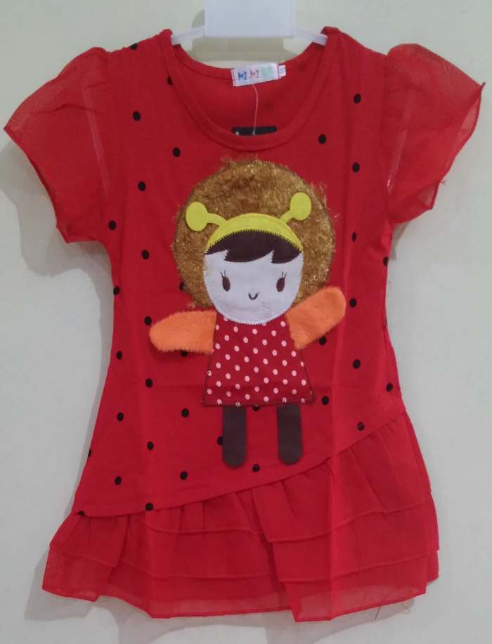 DRKD107 - Dress Anak Little Girl Dot Black Red Murah