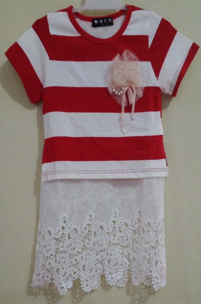 DRKD108 - Dress Anak Stripe Red Rok Brukat Murah