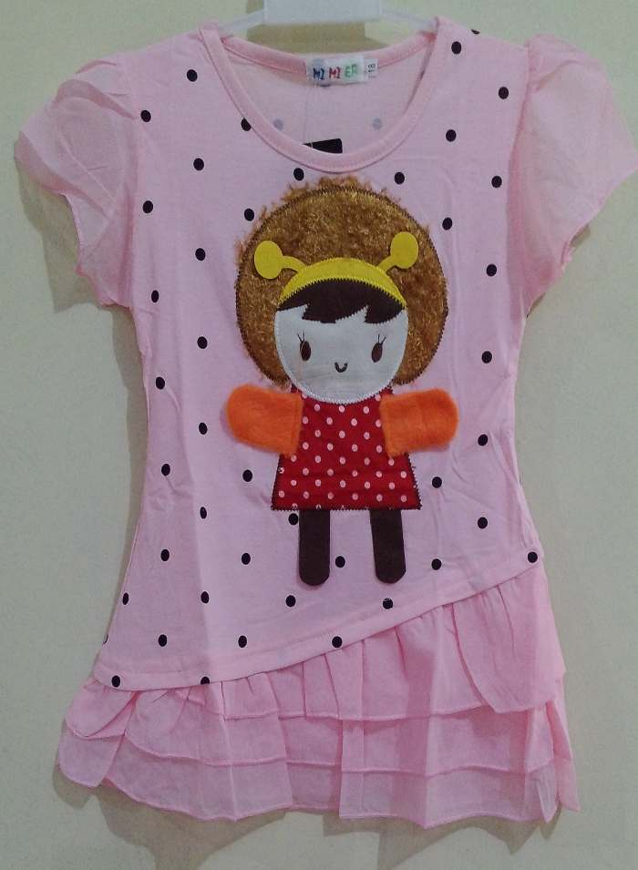 DRKD106 - Dress Anak Little Girl Dot Black Pink