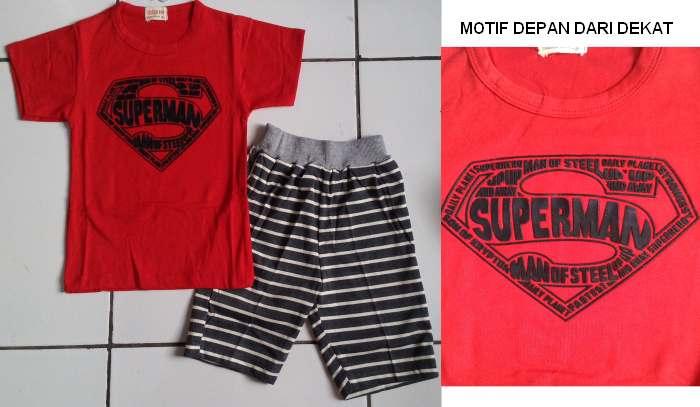 STKDL189 - Setelan Anak Laki Superman Red Stripe Pant