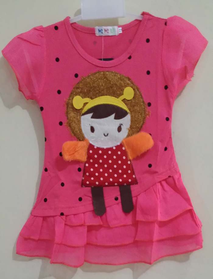 DRKD105 - Dress Anak Little Girl Dot Black Peach