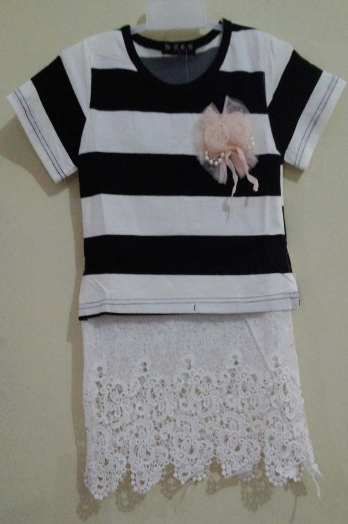 DRKD109 - Dress Anak Stripe Black Rok Brukat Murah