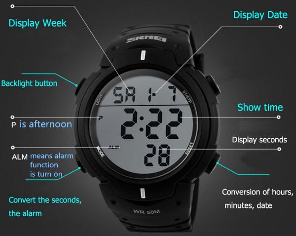 SKMEI Pioneer Sport Watch 1068 Original Water Resistant 50M - Black