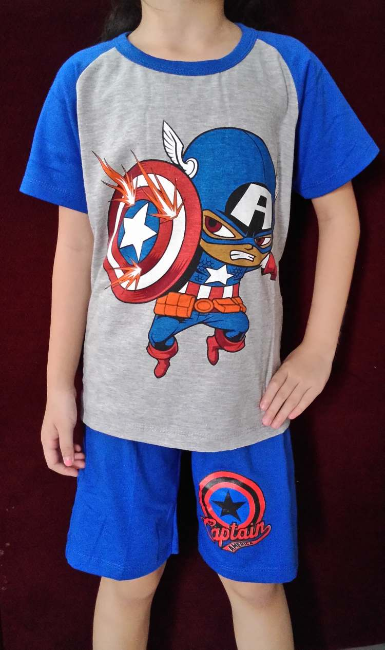 STKDL175 - Setelan Anak Laki Captain America Blue Misty Murah