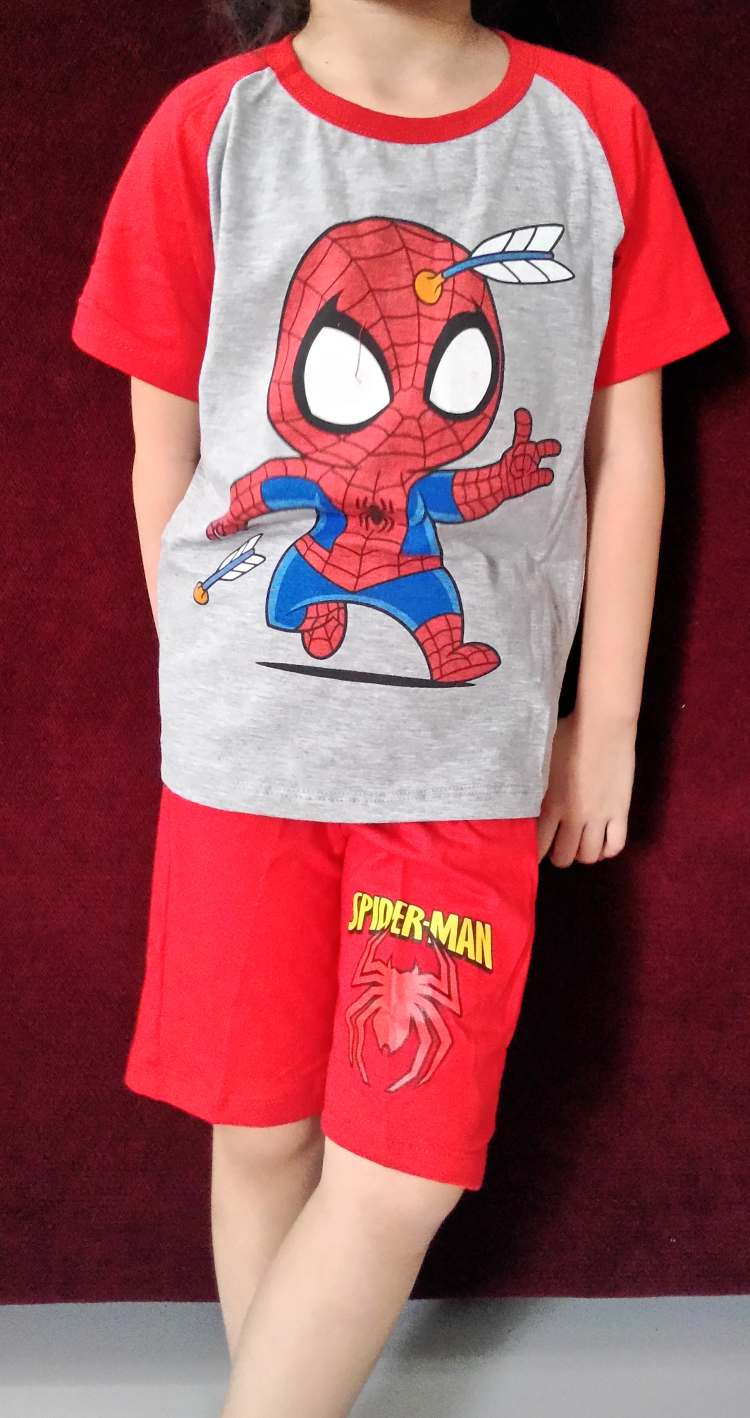 STKDL176 - Setelan Anak Laki Spiderman Arrow Red Misty Murah