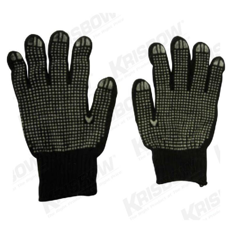 Jual SARUNG TANGAN KRISBOW PVC DOT 9IN BLACK COTTON 12PR