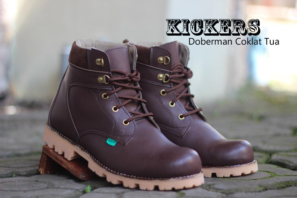 Sepatu Kickers Boots Safety Doberman Coklat Tua