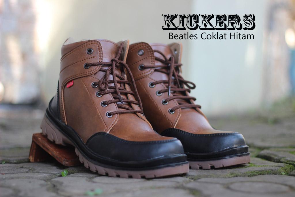 Sepatu Kickers Safety Boots Beatles Coklat Hitam
