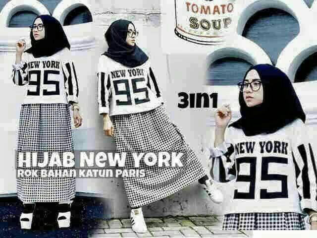 New York Set / atasan / Rok / Hijab / pashmina / baju putih