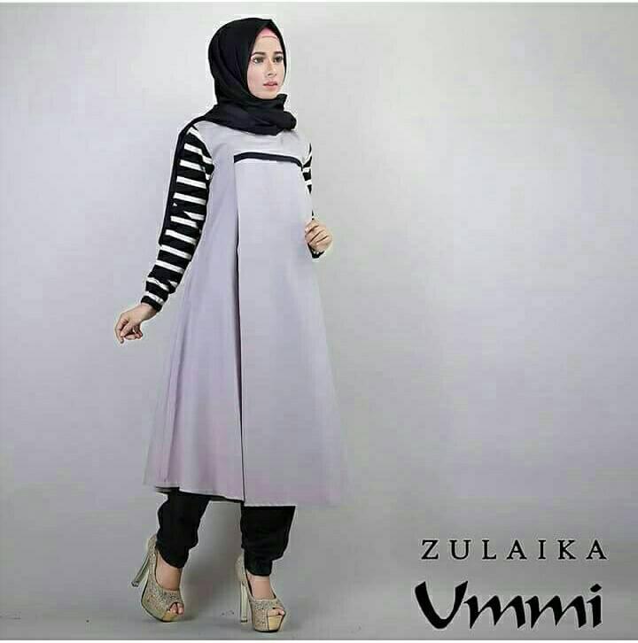 zualika grey set hijab 3in1