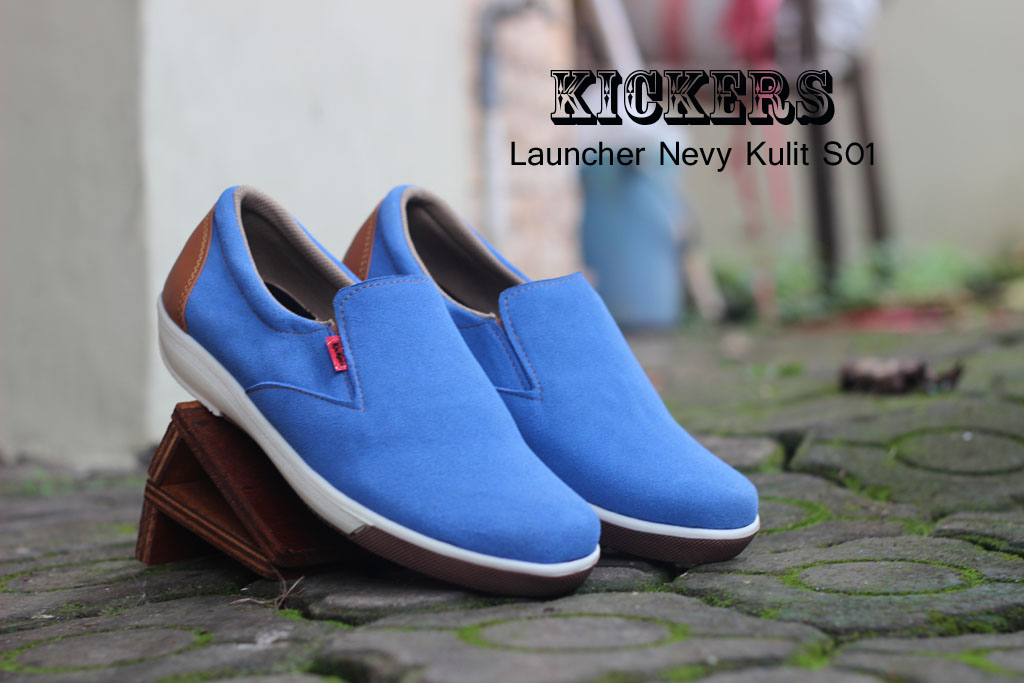 Sepatu Kickers Casual Launcher Warna Nevy Bahan Kulit Asli S01