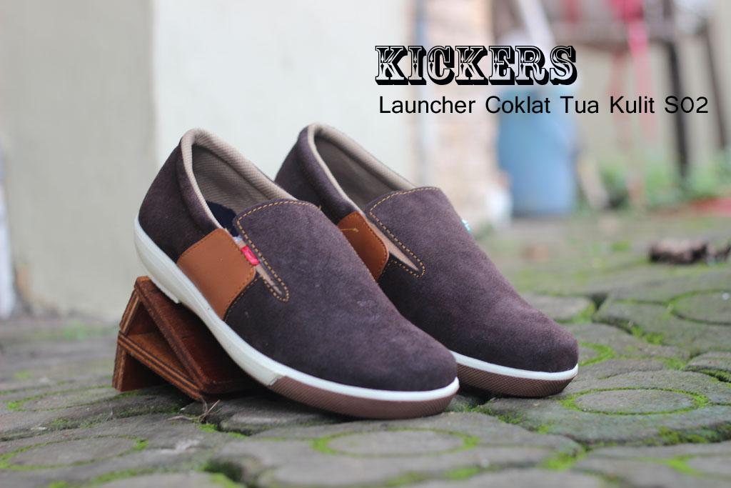 Sepatu Kickers Casual Launcher Warna Coklat Tua Bahan Kulit Asli S01