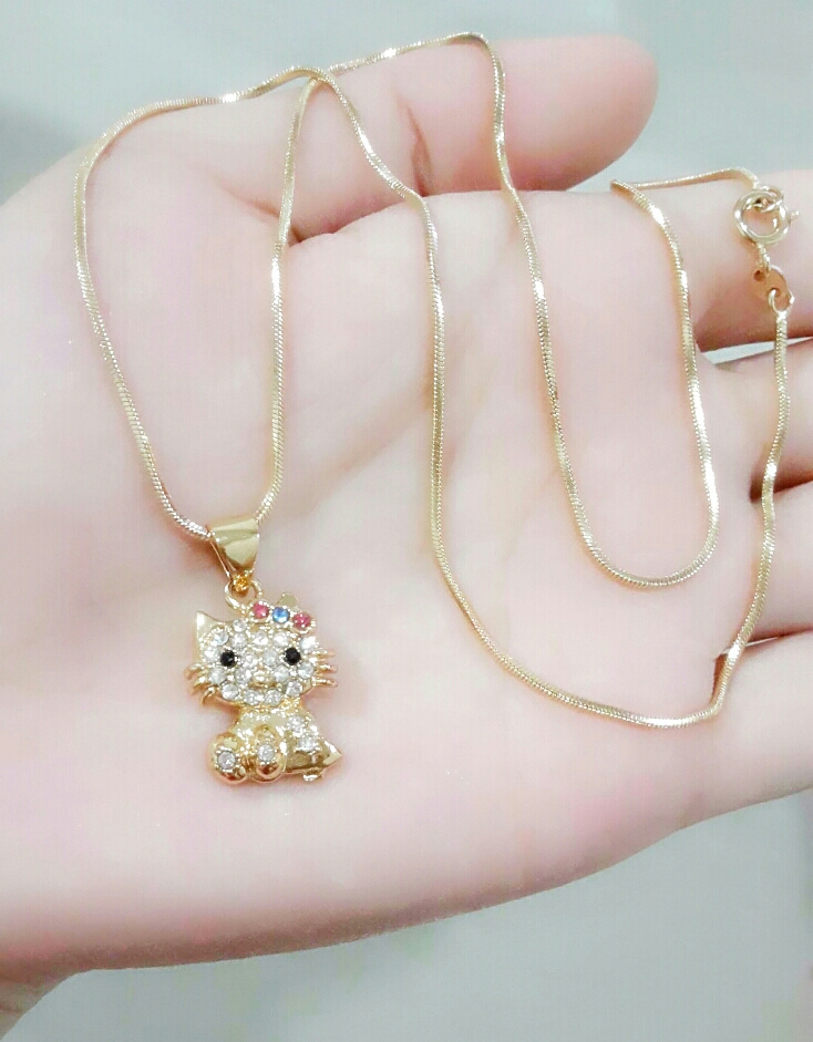 Jual Kalung + Liontin Hello Kitty Anak ( xuping / lapis emas ) - 88 SANFLOWER | Tokopedia