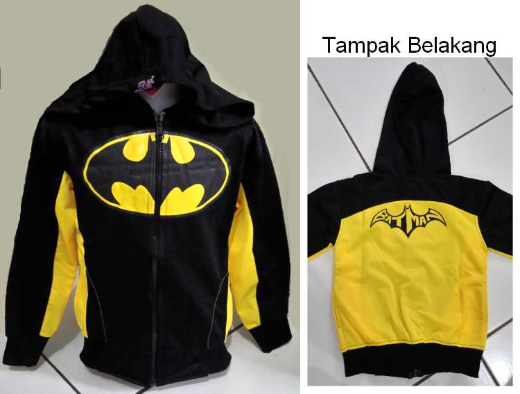 JKKDL43 - Jaket Anak Batman Yellow Logo New Version XXL