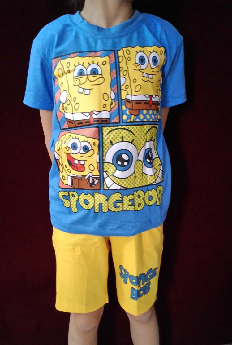 STKDL180 - Setelan Anak Selutut Spongebob Blue Yellow Murah