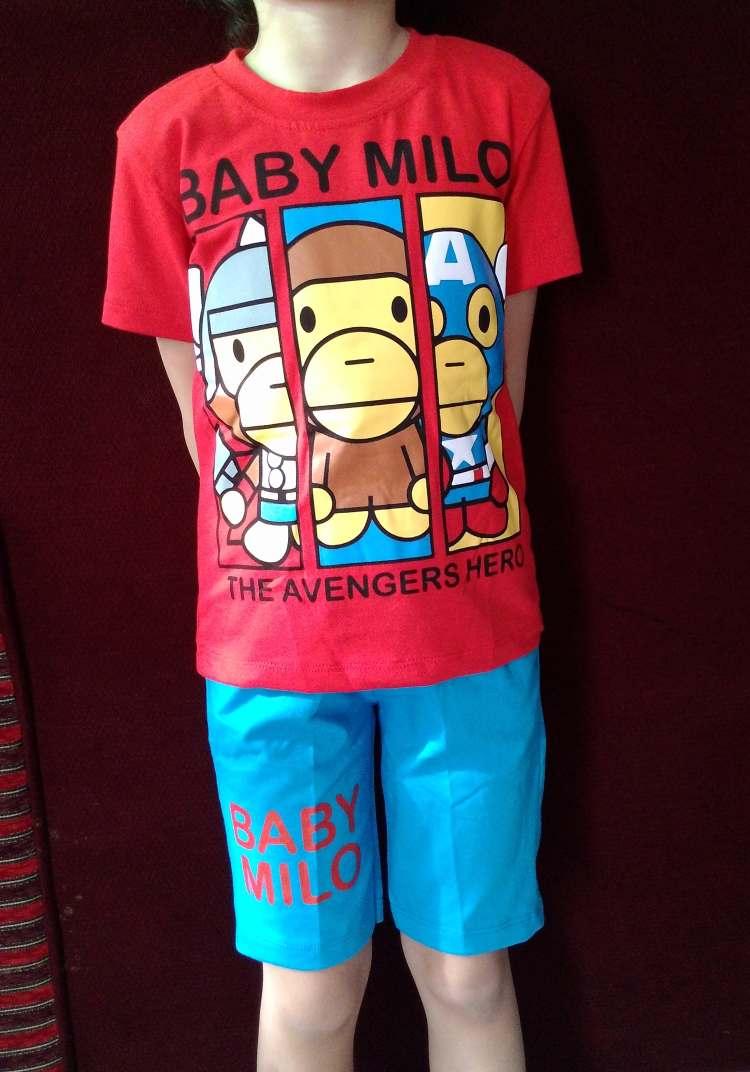 STKDL179 - Setelan Anak Laki Selutut Baby Milo Avengers Hero Murah