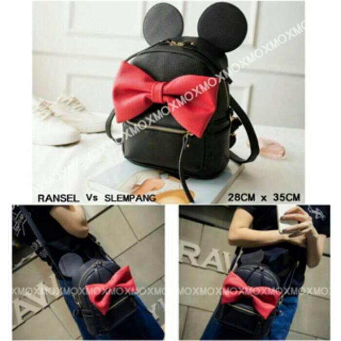 Jual Tas Ransel Backpack Slingbag Mouse Mickey Hitam Murah Pita Korea