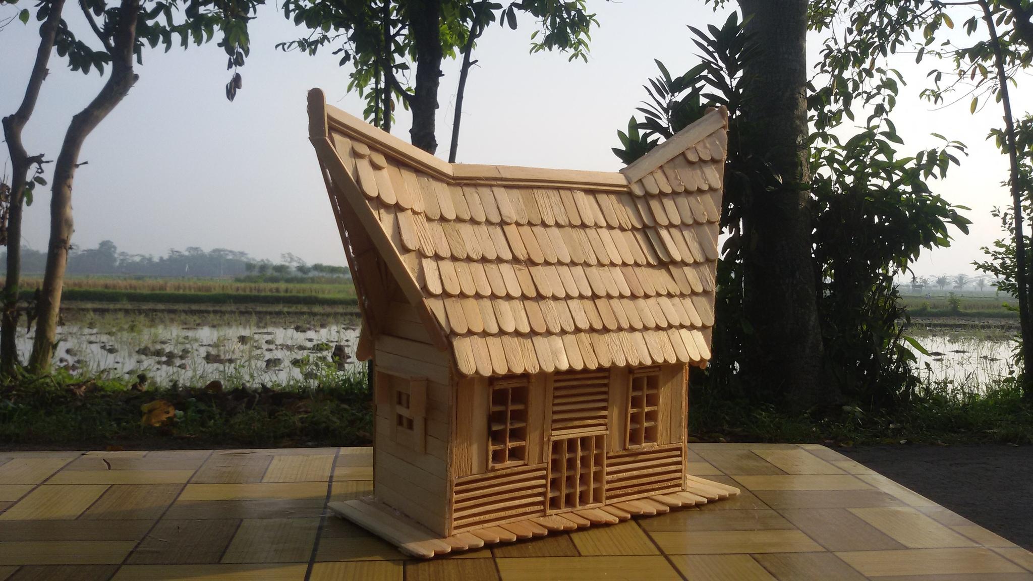 Cara Membuat Rumah Adat Minang Dari Stik Es Krim