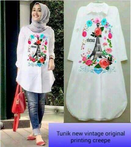 new vintage crepe/blouse/tunik/atasan/top muslim/hijab