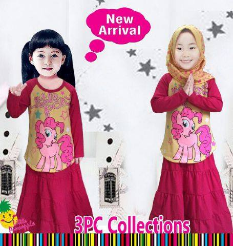 setelan anak muslim little pineapple - set hijab rok little pony pink