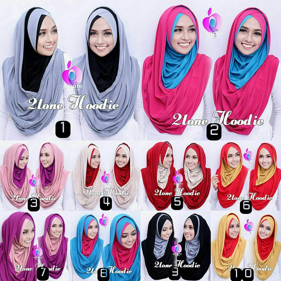 Jual Jilbab Long 2 tone hoodie by apple hijab