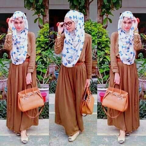 Vivah Hijab Mocca Pashmina Motif