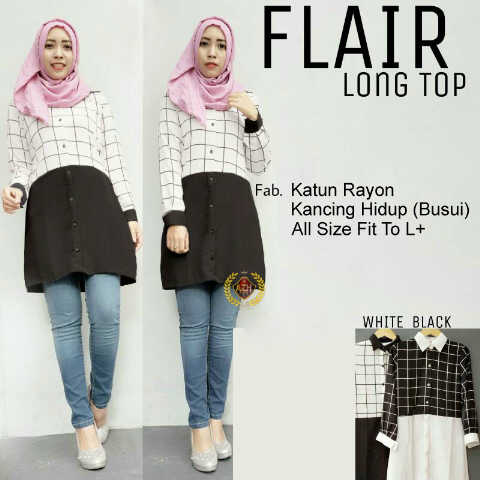 Baju Hijab Terbaru - Flair Long Top