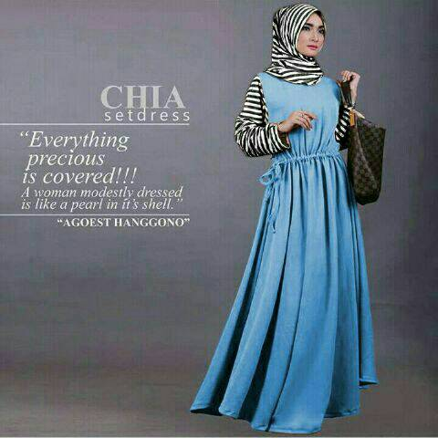 Hijab Salur Chia Set Dress Blue