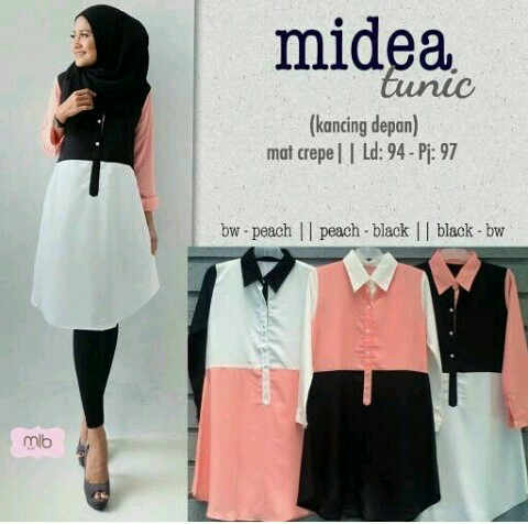 midea tunik bhn twisccon fit xl _se /blouse/atasan/muslim/hijab