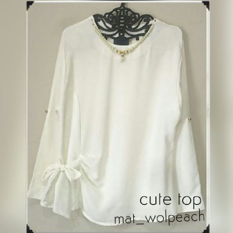 cute top bhn wolpeach fit xL _selal (blouse/atasan/hijab)