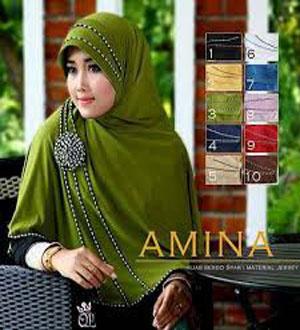 Fashion Busana Muslim Kerudung Jilbab Hijab Bergo Syar'i Amina