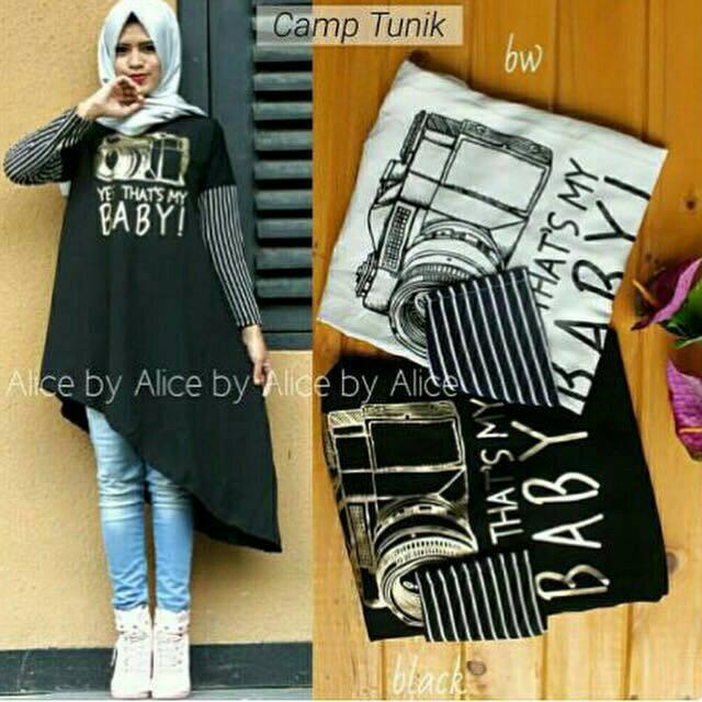 Campe Tunik / baju muslim modern / hijab gaya baru / baju putih
