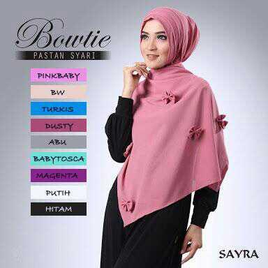 Pasmina Instan Bowtie2 bahan ceruty /kerudung/jilbab/syria/hijab