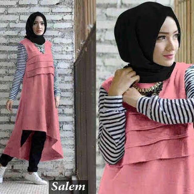 Baju pink / Moei Salem / Tunik lucu / baju Muslim / hijab Modern murah