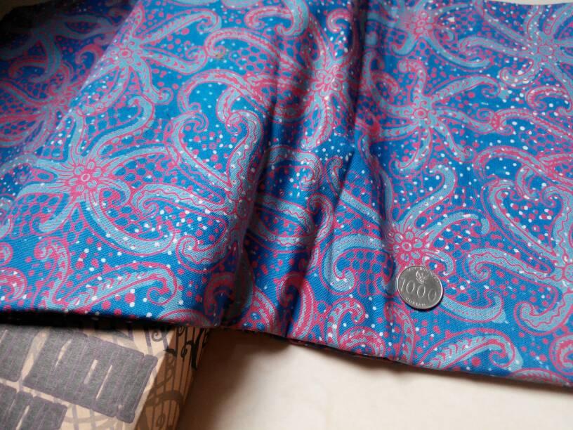 Jual Kain Batik Tulis Kalimantan bahan katun  biru pink