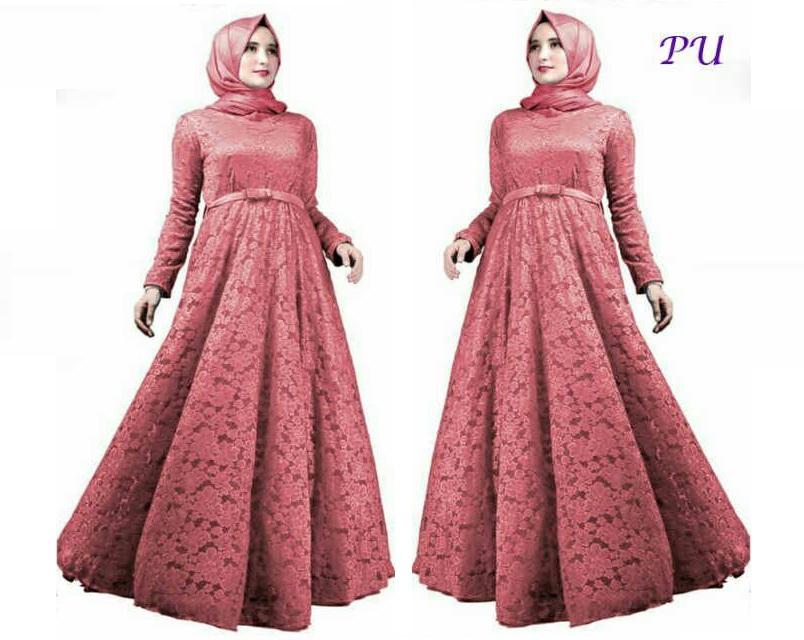 Harga Gamis Muslim Brukat Furing Party Dress Maxy Brokat