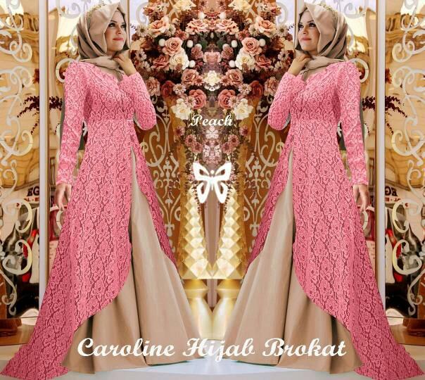 Baju Muslim Caroline Hijab Brukat Peach