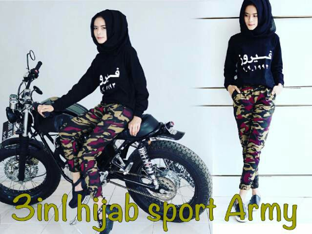 3 in 1 Hijab Sport Army [Pakaian Muslim]